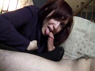 Black serpentine trunks footjob & blowjob. (Preview)