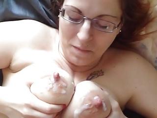 Blue eyed redhead yon glasses gets her gargantuan nipples cummed in excess of