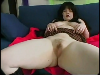 Simmering Fat Chubby Teen side playing roughly her Hairy Pussy