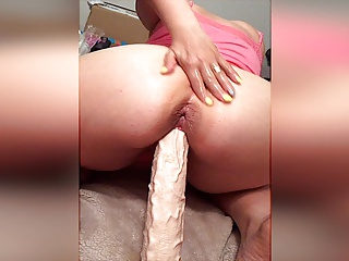 My hot floozy wife rides huge dildo increased by spreading her asshole