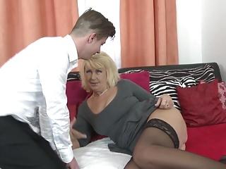 Superb grey mom seduce young roasting son