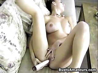 Busty bush-leaguer Dolly masturbates her pussy with dildo
