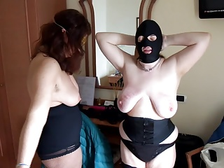 Set-to on touching mistress: slapping tits, face, ass