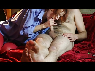 Russian redhead girl blowjob and handjob