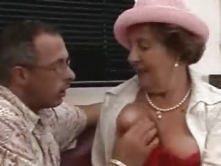 Crazy Brunette Grandma Fucked on the floor
