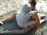 Mature tighten one's belt and wife having sex on slay rub elbows with beach.