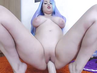 Beautiful Off colour Haired Teen with Big Bosom Rides Dildo on Cam