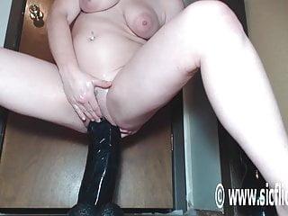 Gigantic dildo fucking orgasms