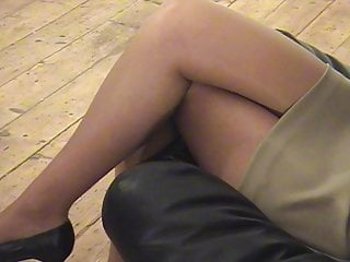 slut in tan pantyhose posing for a scold integument