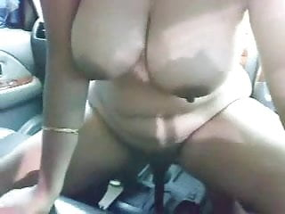 Desi Shilpa Aunty completely in one's birthday suit in the car with her boss