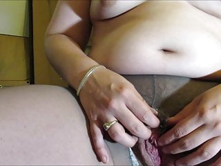 Chubby Hot Wife Fingers Her Hairy Pussy in all directions Pantyhose