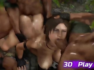 Lara Croft from Tomb Raider Enjoying a GangBang