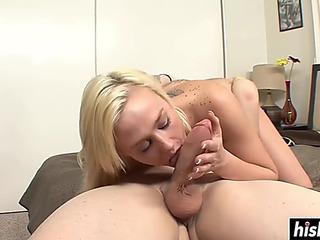 GoldenHaired suitor got cum overspread after