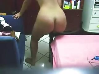Nice Ass Chubby Dances then Fucks Bedpost