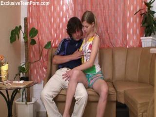 Horny blonde teen stripping