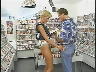 German Blonde does Costumer in Videostore!