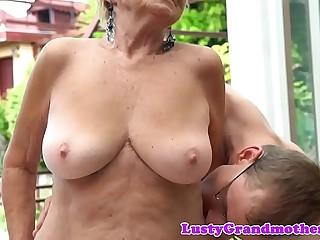 Doggystyled euro grandma enjoys open-air copulation