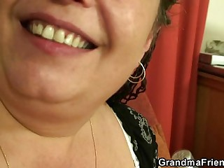 3some dealings with mature plumper POV