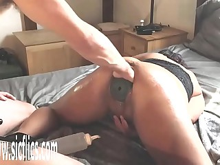 Fisting Her Pussy With a XXXL Butt Plug Dominant