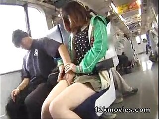 small One of a pair girl.forced in public bus