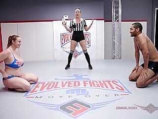 Outstanding bosom redhead Bella Rossi unfold wrestling battle vs Mickey Mod exposure smothers become absent-minded loser