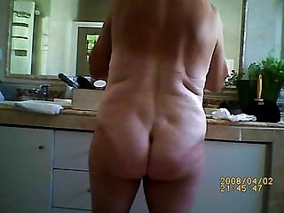 Voyeur bathroom, my mature wife naked