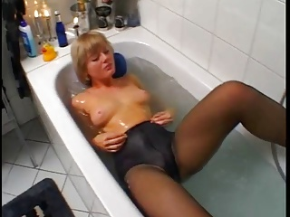 Cute Peaches Using Glass Dildo And Nevertheless On Black Pantyhose