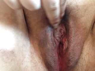 Rubbing my clit and fingering my shaved, plump, gungy pussy