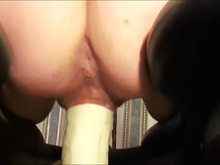 hot wife on will not hear of fucking machine encircling big dildo
